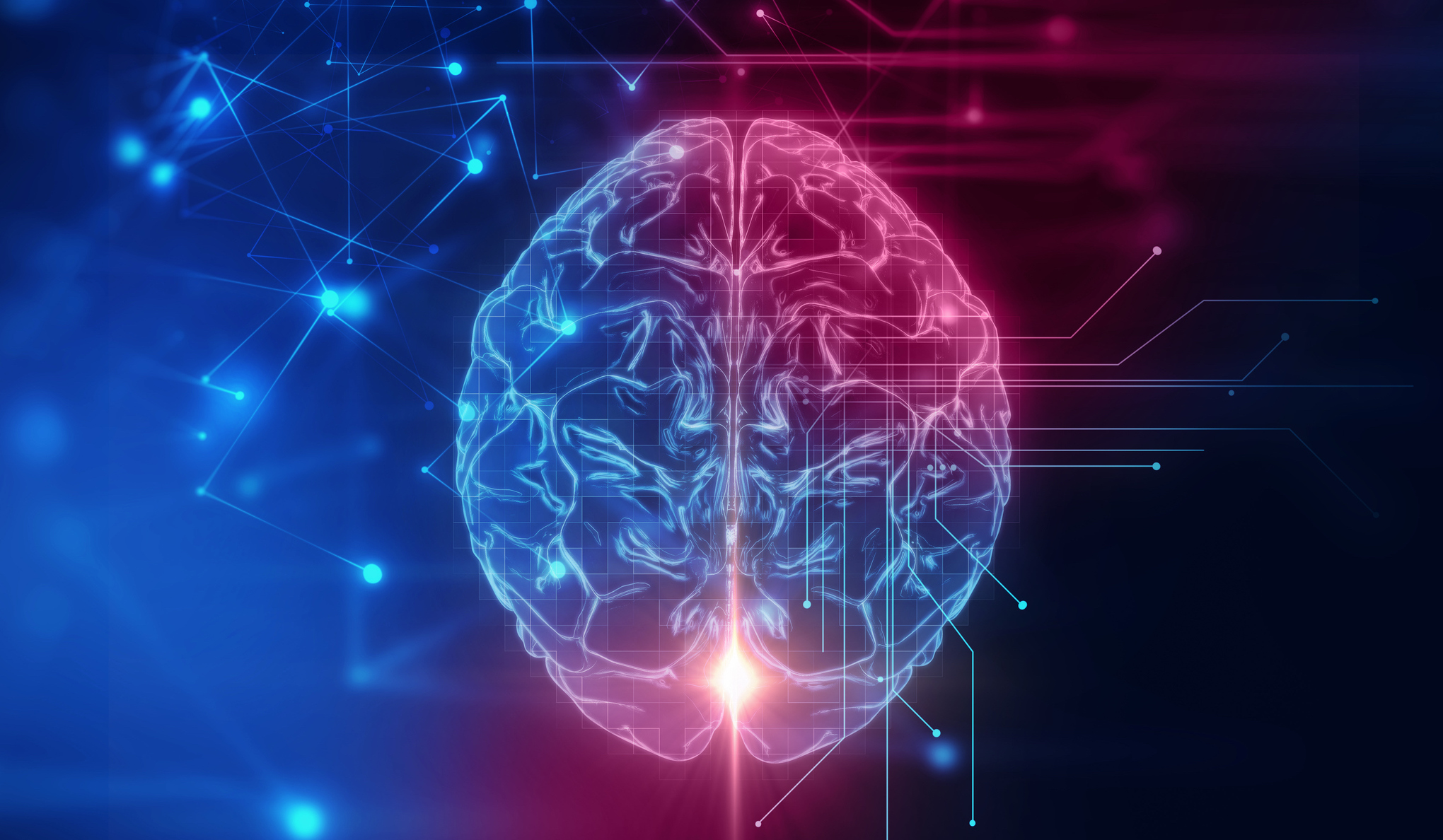 iStock 611992272 - 3d rendering of human  brain on technology background